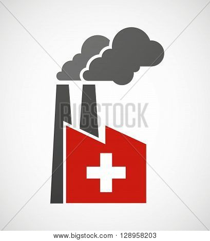 Isolated Industrial Factory Icon With   The Swiss Flag