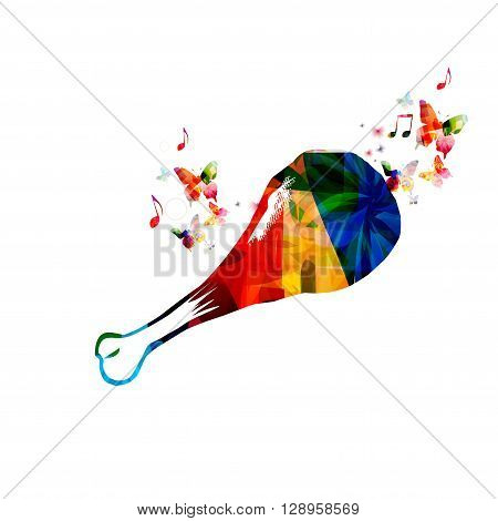 Vector illustration of colorful chicken drumstick with butterflies