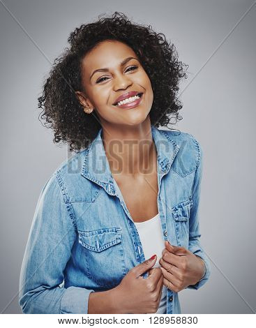 Pretty Laughing Woman In Blue Denim