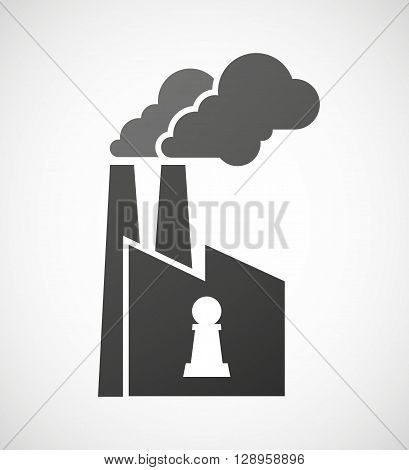 Isolated Industrial Factory Icon With A  Pawn Chess Figure