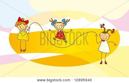 Girls jump with a skipping rope