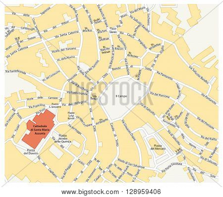 map of the historic center of the Tuscan city of Siena, Italy
