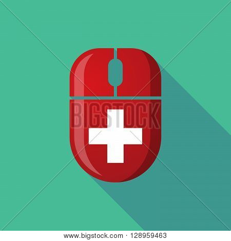 Wireless Long Shadow Mouse Icon With    The Swiss Flag