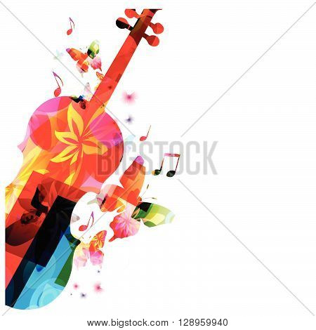Colorful music background with butterflies. Vector illustration