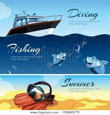 vector horizontal banners with pictures of summer rest. Girl a red bathing suit sunbathes on the beach. rest on the yacht. Sea fishing. Blue small fishes. Sand castles
