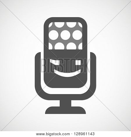 Isolated Mic Icon With  A Wink Text Face Emoticon