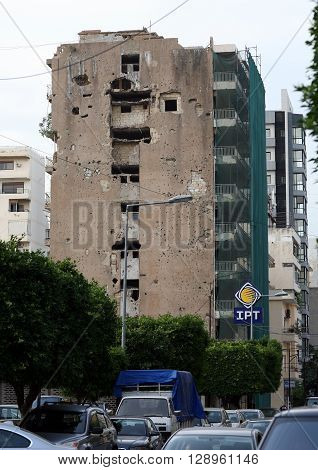 BEIRUT, LEBANON - MAY 3, 2016: Houses in city center of Beirut ruined during civil war.