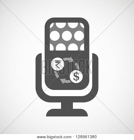 Isolated Mic Icon With  A Rupee And Dollar Exchange Sign
