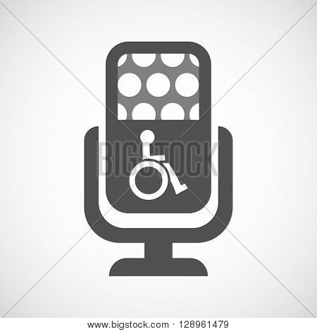 Isolated Mic Icon With  A Human Figure In A Wheelchair Icon