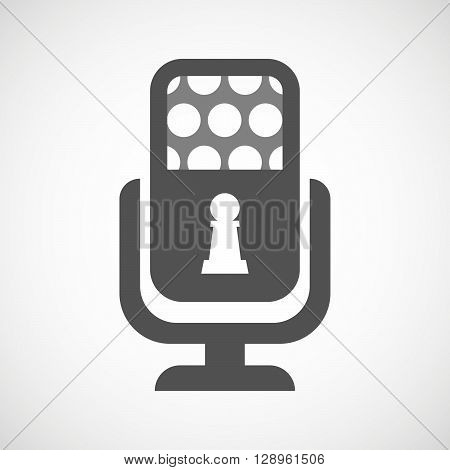 Isolated Mic Icon With A  Pawn Chess Figure