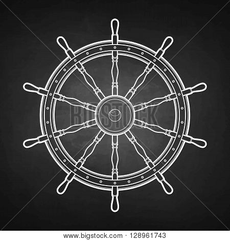 Graphic marine steering wheel drawn in line art style. Ocean vector emblem isolated on chalkboard