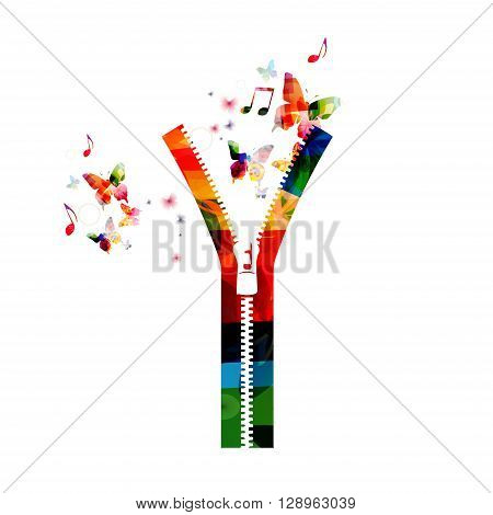 Vector illustration of colorful zipper with butterflies