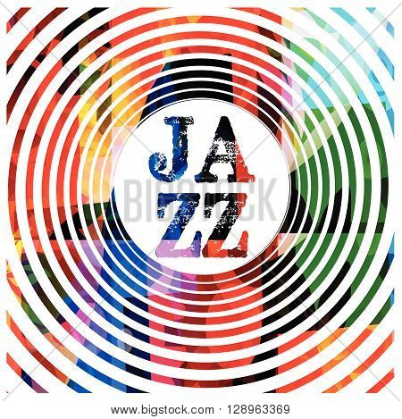 Vector illustration of colorful hypnotic jazz inscription
