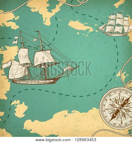 Vintage vector map with sailing vessels. Ancient map with ships and compass.