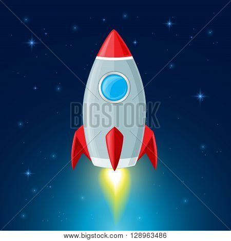Rocket flying in space. Space background with rocket and stars.