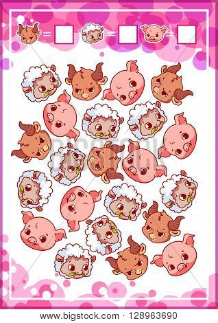 Education counting game for preschool kids with funny animals. How many sheeps pigs and bulls do you see? Cartoon vector illustration.