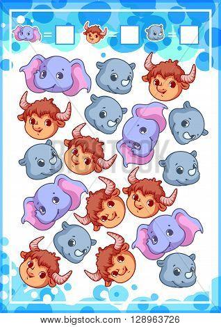 Education counting game for preschool kids with funny animals. How many elephants rhinoceroses and yaks do you see? Cartoon vector illustration.
