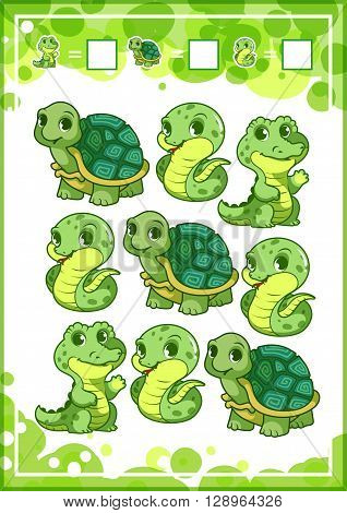 Education counting game for preschool kids with funny animals. How many turtles snakes and alligators do you see? Cartoon vector illustration.