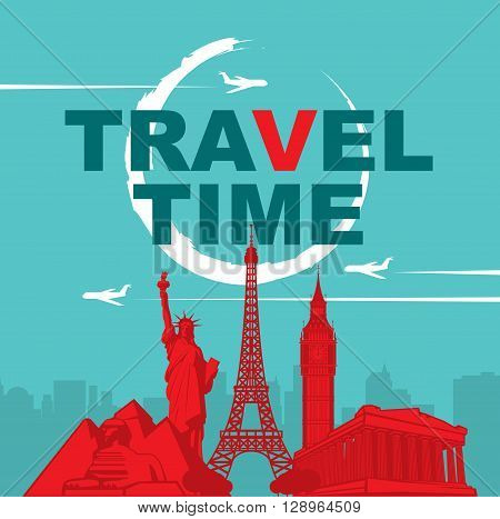 banner travel time with architectural landmarks and the flying plane