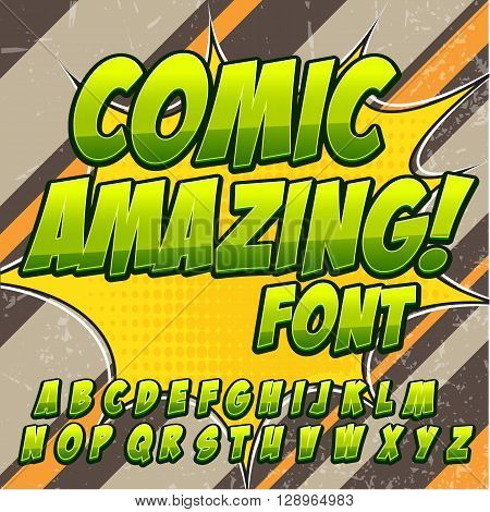 Comic alphabet set. Green color version. Letters, numbers and figures for kids' illustrations websites comics banners.