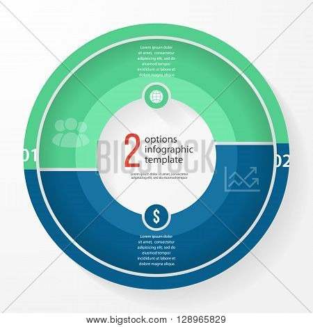 Vector business pie chart template for graphs charts diagrams. Business circle infographic concept with 2 options parts steps processes.