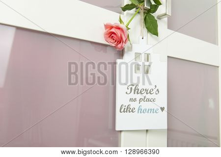 door hanger with no place like home with rose