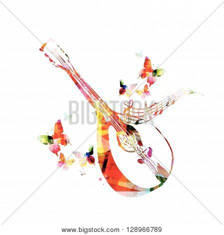 Colorful mandolin with butterflies and notes. Vector illustration