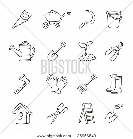 Set of icons of garden tools. Vector illustration on white background. Outlined icons. Elements for design.