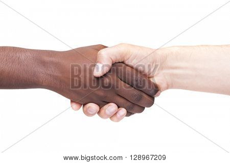 African man's hand shaking white man's hand, isolated on white background