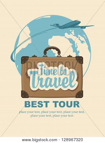 Banner with a travel suitcase and the words travel time passenger plane and planet Earth