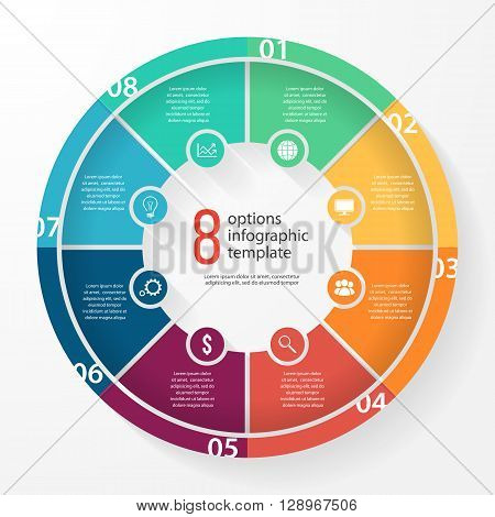 Vector business pie chart template for graphs charts diagrams. Business circle infographic concept with 8 options parts steps processes.