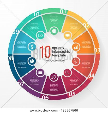 Vector business pie chart template for graphs charts diagrams. Business circle infographic concept with 10 options parts steps processes.