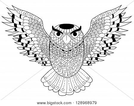 Owl coloring book for adults vector illustration. Anti-stress coloring for adult. Zentangle style. Black and white lines. Lace pattern
