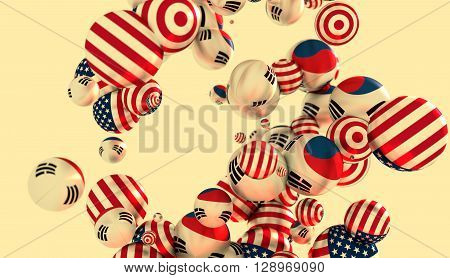 Large group of orbs or spheres levitation in empty space. 3D rendering. USA and Korea flags