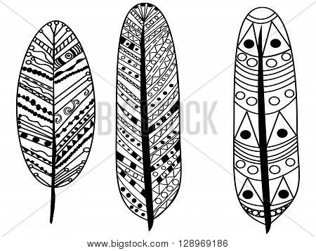 feather coloring book for adults vector illustration. Anti-stress coloring for adult. Zentangle style. Black and white lines. Lace pattern