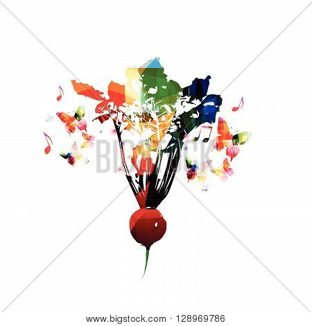 Vector illustration of colorful radish with butterflies