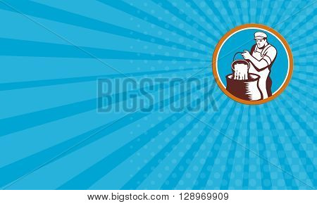 Business card showing illustration of a cheesemaker pouring bucket of curd and whey into vat facing set inside circle front on isolated background done in retro woodcut style.