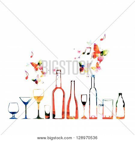 Vector illustration of colorful glassware with butterflies
