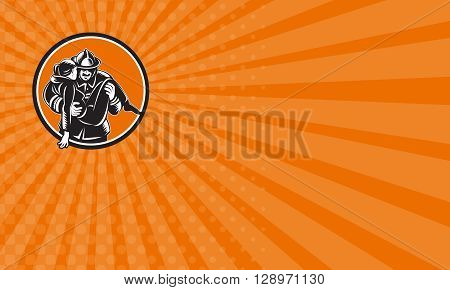 Business card showing illustration of a fireman fire fighter emergency worker carrying saving girl running viewed from front set inside circle done in retro woodcut style.