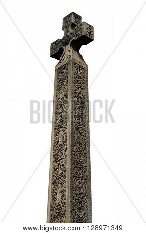Medieval Celtic Cross on white, Whitby Abbey, North Yorkshire, England.