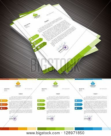 Vector illustration of creative letterhead template in 3 colors.