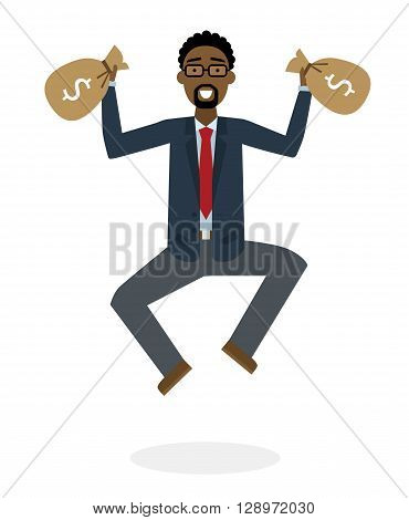 Businessman jumping in the air with money bag on white background. Concept of victory, business success and celebrating. Isolated happy african american businessman is excited.