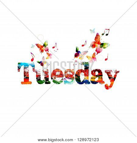 Vector illustration of colorful Tuesday inscription with butterflies