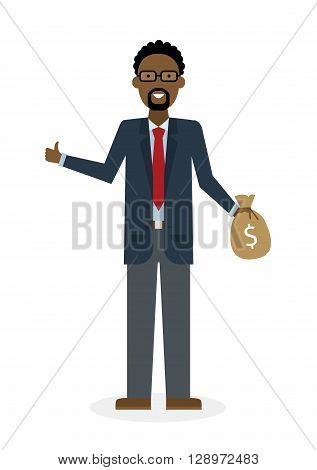 Businessman with money bag and thumb up gesture on white background. Isolated character. African american businessman holding money bag. Concept of successful job.