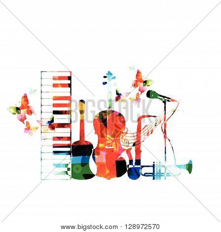 Colorful musical instruments background with butterflies. Vector illustration