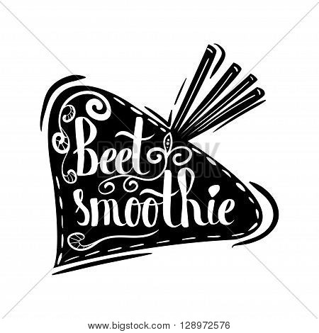 Creative typographic poster with the lettering on the black vegetable silhouette with handmade ornaments isolated on a white background. Refreshing beetroot smoothie. Vector illustration