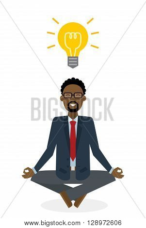 Businessman meditating with light bulb on white background. Isolated character. Strategy thinking. Brainstorming and meditating idea.