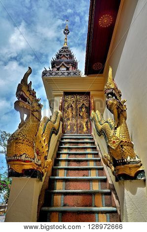 The Naga staircase at temple in Chiangmai, Thailand.