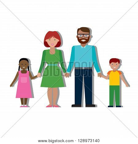 Multicultural traditional family with parents and children. Happy family. Boy and girl. African american girl and swarthy father. Smiling family