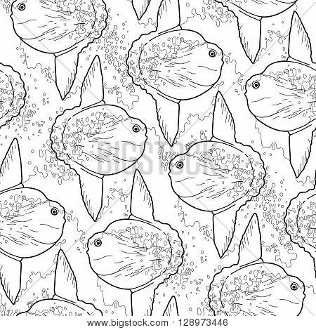 Graphic vector sunfish seamless pattern. Sea and ocean creature in black and white colors. Coloring book page design